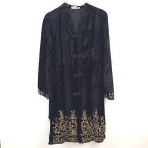 Soft Surroundings Beaded Velvet Coat Tall Small